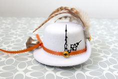 The Bell Tolls  Mini Riding Hat by earthcharms on Etsy (Accessories, Hair, Clip, earthcharms, socoetsy, mini top hat, white felt, clock hands, orange, ribbon, bell, button, rhinestone, alligator clip, steampunk, rooster feathers)