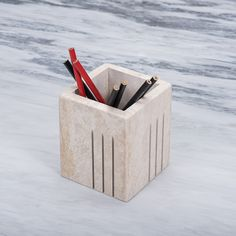 Handmade stone pencil holder Pencil Holder, Container, Stone, Handmade, Countertops, Rock, Hand Made, Pencil Holders, Stones
