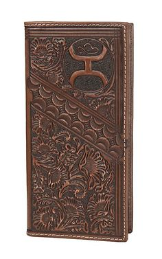 HOOey Brown Distress Floral Tooling Overlay Logo Rodeo Wallet / Check Book | Cavender's Cowgirl Jewelry, Western Jewelry, Leather Tooling, Leather Wallet, Custom Wallets, Checkbook Cover, Cowboy And Cowgirl, Brown Floral, Leather