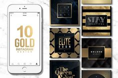 10 INSTAGRAM GOLD Templates by WG VISUALARTS on @creativemarket