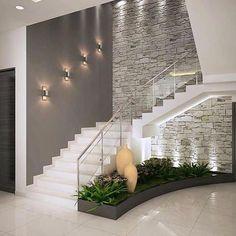 Inspire-se nestas fantásticas escadas para construir a sua!Corredores e halls de entrada por ACE INTERIORS Interior Design Your Home, Home Stairs Design, Modern House Design, Stair Design, Interior Ideas, Brick Interior, Hall Interior, Modern Stairs Design, Apartment Interior