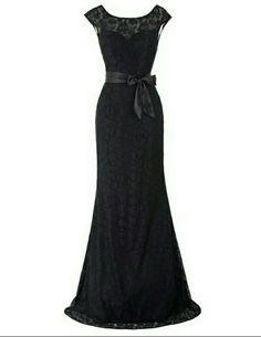 Black evening dress, long