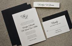 Black Tie Wedding Invitation, Classic Black and White Wedding Invites. Printable files for sale on Etsy.