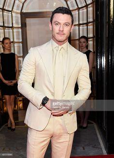 Luke Evans, wearing a Bulgari watch, arrives at the Bulgari flagship store reopening on New Bond Street on April 14, 2016 in London, England.