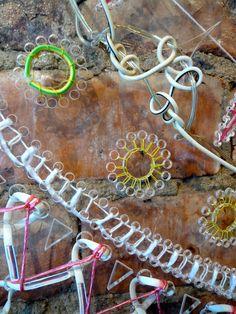 """Oddest Exhibition"" enbroidery art close up by textile artist Bella Leonard Plastic Design, Plastic Art, Recycled Art, Recycled Dress, Creative Knitting, Textiles Techniques, Crochet Art, Fiber Art, Fibre"