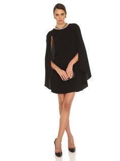 Pelerin ve Sırt Detaylı Mini Elbise - Koleksiyon - Abiye Elbise - ROMAN