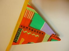 Retro Yellow Geometric Bunting £8.00 Bright Colors, Colours, Geometric Fabric, Bias Binding, Bunting, Swirls, Retro, Sewing, Yellow