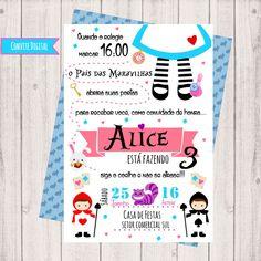 Convite Digital Alice no País das Maravilhas Alice In Wonderland Tea Party Birthday, Baby Mine, Flower Embroidery Designs, Boss Baby, Ideas Para Fiestas, Girl Birthday, Crafts For Kids, Baby Shower, Invitations