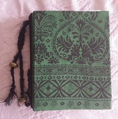 Handmade Shabby Chic Junk Journal with Handmade Parchment Paper in Green and Black on http://www.trehanstreasures.com/