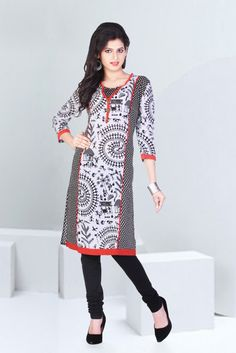 Black-Off white Color Cotton Designer Kurtis Indian Theme, Off White Color, Kurta Designs, Best Web, Girls Wear, Tunic Tops, Lady, Designer Kurtis, Womens Fashion