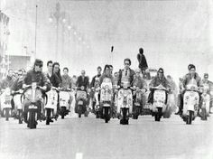Mid-1960s England UK, Mods on their Vespa Scooters