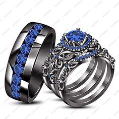 Rd Blue Shire 14k Black Gp Engagement Wedding Bridal Ring Set Gold Rings