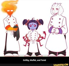 Grillby, Muffet, and Toriel
