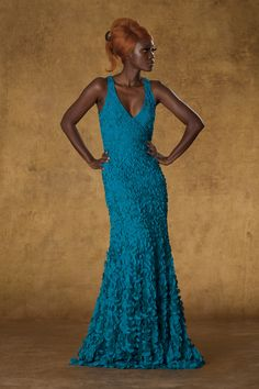 #THEIA #Fall #2013 - 881671: Laser Coin Petal V-Neck Sleeveless Gown