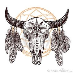c93c240d9 Buffalo Skull With Feathers And Dreamcatcher Native American Drawing