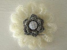 crocheted mohair flower brooch