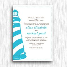 Wedding Invitation - Blue and Brown Lighthouse - Customized Printable. $12.00, via Etsy.