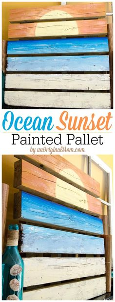 Ocean Sunset Painted Pallet Art and Summer Mantle 2019 A painted pallet by a non-artisteasy to do and great for a summer mantle display! The post Ocean Sunset Painted Pallet Art and Summer Mantle 2019 appeared first on Pallet ideas. Pallet Crafts, Diy Pallet Projects, Wood Projects, Pallet Ideas For Bedroom, Painted Pallet Art, Pallet Painting, Painted Mantle, Wood Pallet Art, Barn Wood