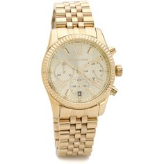 Michael Kors Lexington Watch ($155) ❤ liked on Polyvore featuring jewelry, watches, gold, stainless steel wrist watch, polish jewelry, stainless steel jewelry, gold tone jewelry and gold tone watches