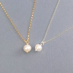 Single Pearl Necklace / Bridesmaid Gift / Sterling Silver / Delicate Gold / Minimalist Jewelry / Gift For Her / June Birthstone $21.00