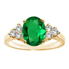 2.48 Ct Oval Natural Green Nano Emerald 18K Yellow Gold Ring - Birthstone for the month of May.  Found at www.jewelmarvels.com
