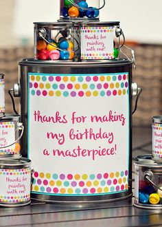 Polka Dot & Rainbow Paint Themed Birthday Party Amy Rossamando - this would be cute party favor for paint party