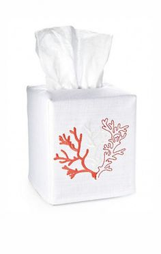 Cotton/linen blend tissue box cover with coral embroidery  #bathroom #beachhouse