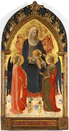Fra Angelico Madonna and Child with Two Angels Boijmans Collection Online Renaissance, Museum Plan, Palais Galliera, Fra Angelico, Medieval Paintings, Christian Artwork, Angel Images, Religious Paintings, Decoupage