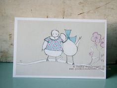 Lovebirds Wenskaart, inclusief enveloppe. Geprint op gerecycleerd mat papier.