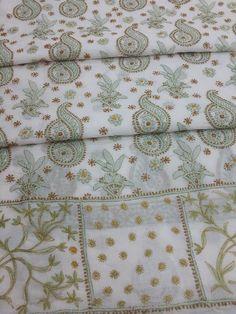 Lucknowi Chikankari Online Suit Length 3 Piece white cotton with very fine murri, shadow & kangan work with designer daaman & pure chiffon dupatta Chikankari Online Suit Length 3 piece rust colour cotton with very fine chikankari murri, shadow & kangan work $55