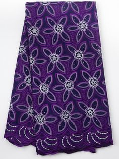 Chantilly Premium Swiss Voile Lace 100% Cotton Fabric Purple for Wedding…