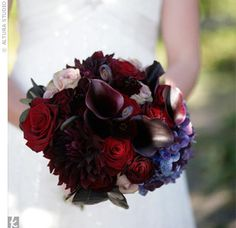 Robin's dark-colored bouquet of black magic, baccara and amnesia roses, fern shoots, and purple hydrangea was wrapped in an embroidered handkerchief that had belonged to her maternal grandmother.