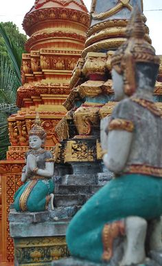 Details of the pagoda in Phnom Krom, Cambodia.