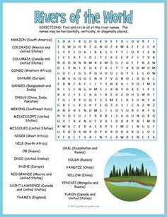 A word search puzzle featuring the names 24 major world rivers. Puzzlers must look for the hidden names in all directions including backwards and diagonally. The location of each river is also given for extra learning opportunities! Geography For Kids, Teaching Geography, World Geography, Geography Lessons, Geography Worksheets, Worksheets For Kids, Vowel Worksheets, Rio Grande, Mississippi