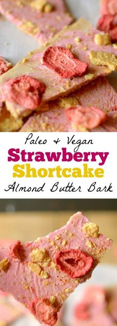 Be prepared to fall in love with this Strawberry Shortcake Almond Butter Bark! It tastes like the classic ice cream bar, but made with healthy ingredients! Paleo & Vegan friendly!
