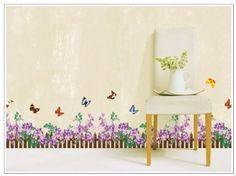 Romantic Purple Flowers Dream Garden with Butterflies Border Wall Decals