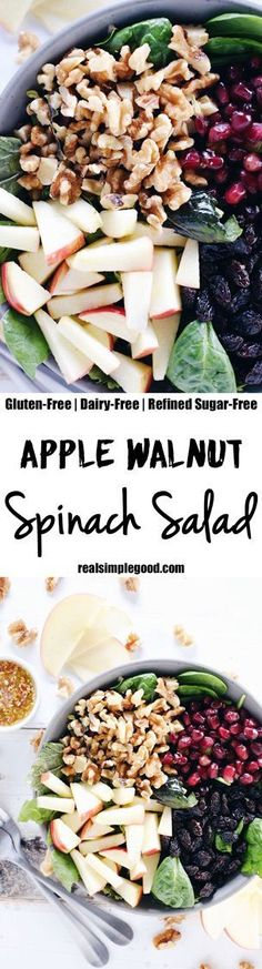 This apple walnut spinach salad is a great way to make lunches during the week a breeze by adding your favorite proteins to make it a complete meal! Paleo, Gluten-Free, Dairy-Free + Refined Sugar-Free. | http://realsimplegood.com