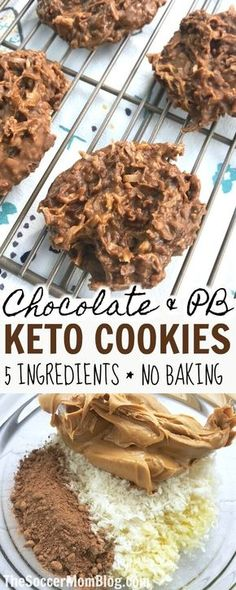 Keto No-Bake Cookies (only 5 ingredients!) These Chocolate & Peanut Butter Keto No Bake Cookies are my new go-to guilt-free treat! They're super easy to whip up (no cooking required) and you only need 5 simple real food ingredients. Biscuits Keto, Cookies Et Biscuits, Desserts Keto, Keto Snacks, Keto Dessert Easy, Simple Keto Desserts, Diabetic Dessert Recipes, Keto Friendly Desserts, Simple Keto Meals