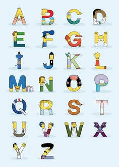 Designer Fabian Gonzalez created an alphabet out of 26 'The Simpsons' characters. In 'Simphabets', each letter represents the first. The Simpsons, Simpsons Party, Simpsons Quotes, Homer Simpson, Digital Foto, Simpsons Characters, Alphabet And Numbers, Alphabet Charts, Cartoons