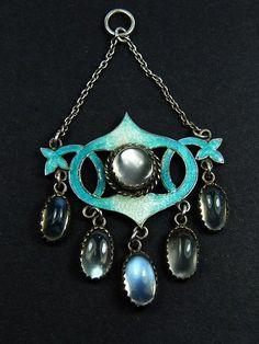 UNUSUAL ANTIQUE ENGLISH SILVER ART NOUVEAU ENAMEL MOONSTONE DROP PENDANT c1890 in Jewelry & Watches | eBay