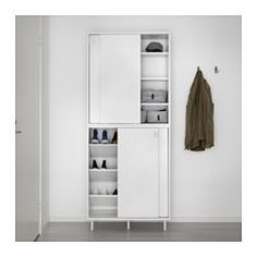 IKEA - MACKAPÄR, Shoe/storage cabinet, If you need more storage, you can place another cabinet on top of the first one.The shelves can be mounted flat or angled so that you can adapt them to the size of the shoes you are storing.