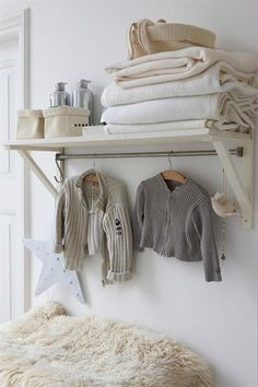 Nursery shelf and rail...this would be good for daddy - can lay out clothes for next day