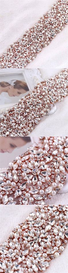 Other Bridal Accessories 106128: 2 Wide Rhinestone Pearl Glass Beads Beaded Wedding Dress Bridal Sash Belt By Th -> BUY IT NOW ONLY: $62.39 on eBay!