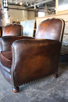 Pair of French Art Deco Leather Club Chairs image 5