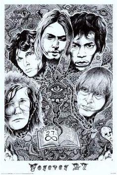 A great poster of rock music icons who'll be Forever Janis Joplin, Jim Morrison, Kurt Cobain, Jimi Hendrix, and Brian Jones! Need Poster Mounts. Jim Morrison, Friedrich Nietzsche, Amy Winehouse, Music Pics, Art Music, Illuminati, Brian Jones Rolling Stones, Jimi Hendricks, Club Poster