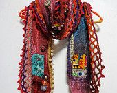NEW - Long Bohemian Gypsy Wool Felted Multi Color Scarf