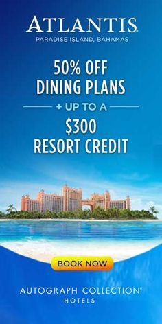 Atlantis' Summer Mega Sale! Take 50% off dining plans and enjoy up to $1360 in savings on a 4 night stay for a family of 4! --------------- #bahamas #deals #sale #vacation #travel #fun #beach #family