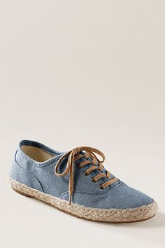 Lands' End Canvas Women's Amory Flat Espadrille Oxford in a chambray fabric. Who ever thought?   #landsendcanvas
