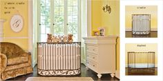 j'adore gold is oval iron elegance in a crib.  3 in 1, cradle, crib and daybed! #round #oval #baby #crib #small #space #nursery #room #gold #neutral #brattdecor