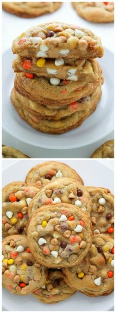 White Chocolate Reese's Pieces Peanut Butter Chip Cookies - so thick and chewy! (Baking Cookies And Shit) Cookie Desserts, Just Desserts, Cookie Recipes, Delicious Desserts, Dessert Recipes, Yummy Food, Baking Cookies, Cookie Bars, Peanut Butter Chip Cookies